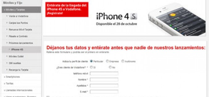 Vodafone confirma que subvencionará el iPhone 4S