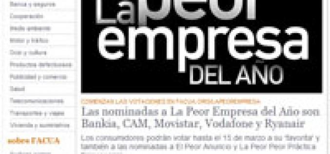 Facua nomina a movistar y Vodafone como peores empresas del año