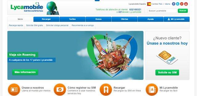Viajar sin roaming es uno de los servicios destacados por Lycamobile en su página web