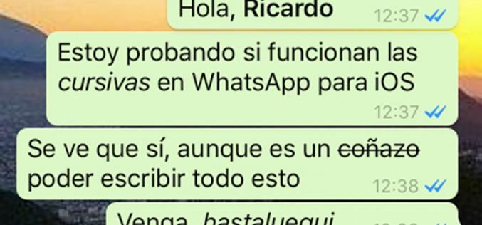 WhatsApp para iOS recibe el texto enriquecido