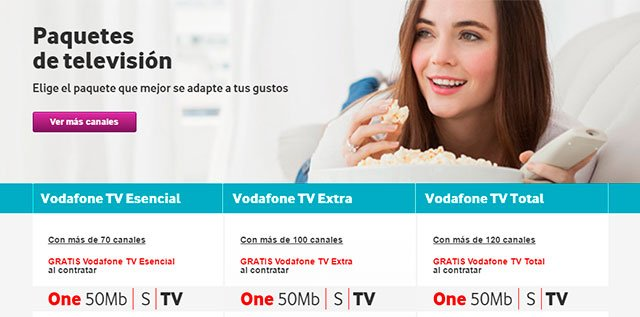 paquetes de canales de Vodafone TV
