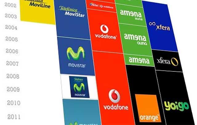 logotipos de los grandes operadores móviles