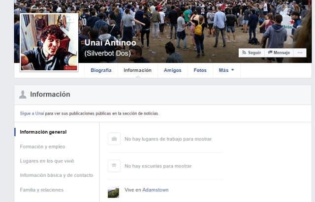 Perfil de Unai Nieto en Facebook