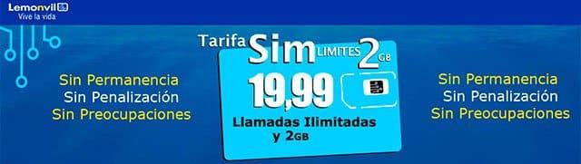 tarifa SIM límites de Lemonvil
