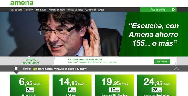 anuncio de Amena con Carles Puigdemont