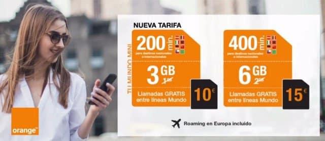 tarifas de Orange Mundo para el cuarto trimestre de 2018
