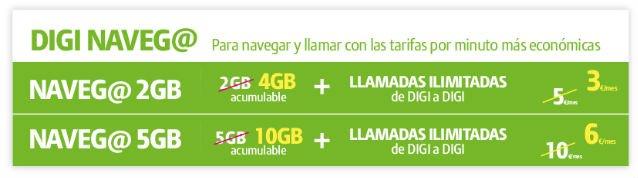 tarifas de fibra Digi + línea móvil 4G