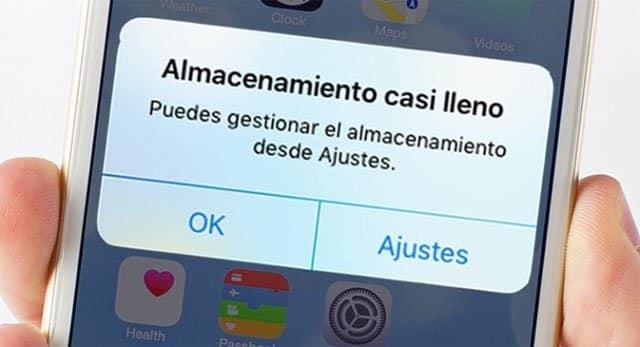 Almacenamiento casi lleno en iPhone