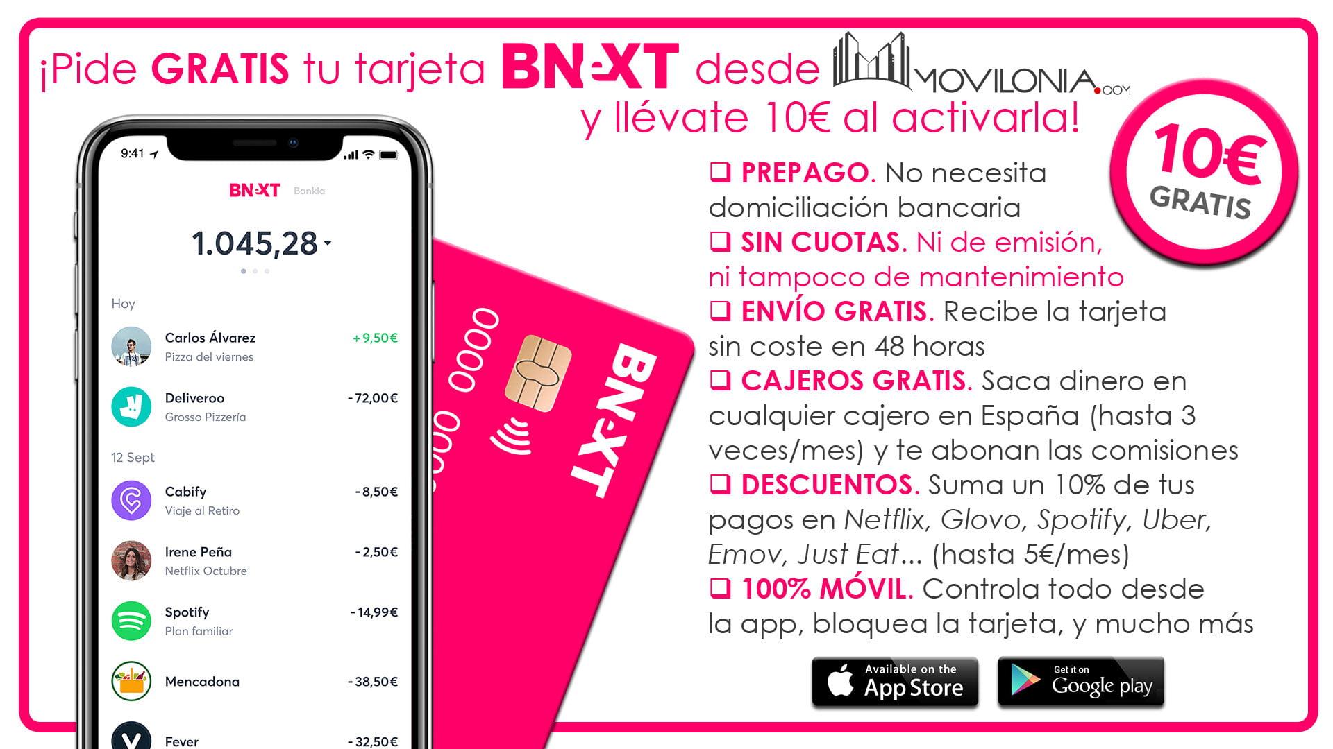 oferta 10 euros gratis con Visa Bnext